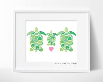 """Turtle Family Digital Print: """"TURTLE FAMILY"""" with Pink Heart Printable Art for Nursery, Kids Room, New Baby, Baby Shower Gift"""