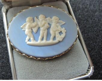 Wedgewood Style Brooch, Blue And White Cherub Brooch