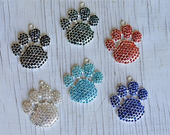 Pawprint Rhinestone pendant for necklaces chunky necklace jewelry chunky gumball necklace wholesale supplies bubblegum pawprint charm