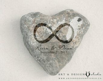 Celtic Wedding Gift - Wedding Date Print, Heart Rock Photo, Infinity Symbol Decor, Celtic Decor, Heart Stone Art, Personalized Print