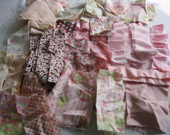 Stash-Buster Pink Cotton Quilting Fabric Scraps