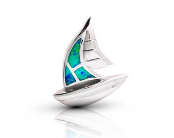 silver Sail boat pendant with blue opal,Sail boat necklace,Sail boat jewelry,see pendant,silver statement necklace,boho chic