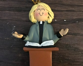 Personalized female pastor Christmas ornament