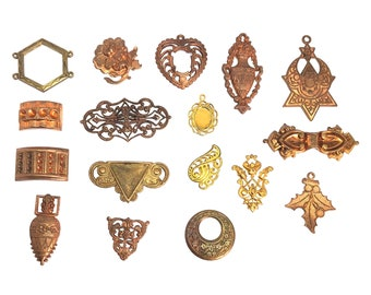 Assorted Old French Stampings, 17 Piece, Embellishments, Pendants, Stampings, Etc. Jewelry Making, Assorted Finishes, B'sue, Item06922