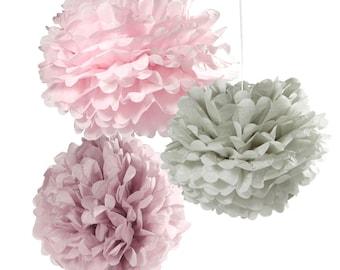 Pom Poms | Wedding Pom Poms | Wedding Decor | Paper Pom Poms | Baby Shower | 3 Per Pack | Pastel Pom Poms