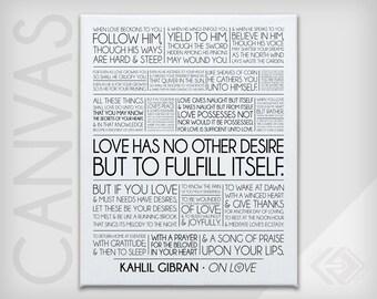 "On Love - Kahlil Gibran - The Prophet - Wedding or Anniversary - Canvas Print .75"" depth with white edges - 8x10, 11x14, 16x20"