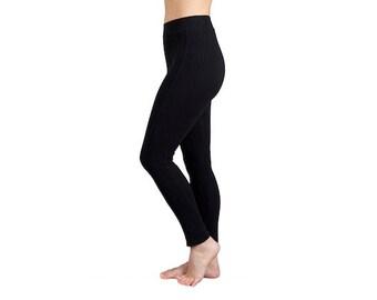 Microfibre Cotton Yoga Leggings Black