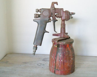 Vintage Metal Paint Gun with 1 Quart Metal Paint Canister Paint Sprayer 1960s