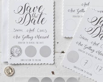 Scratch Save The Date Invitations, Save The Date Invites, Scratch Invitation, Wedding Invites, Wedding Date Invites, Informal Wedding Invite