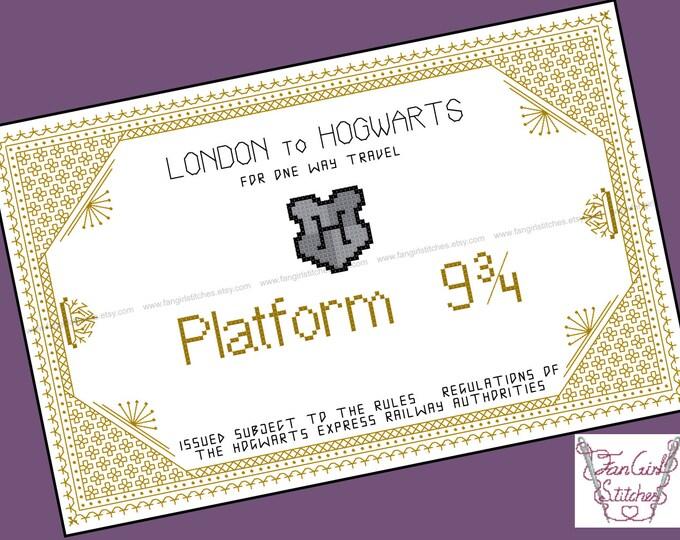 Harry Potter themed Express Train Ticket Cross Stitch Blackwork - PDF pattern - INSTANT DOWNLOAD