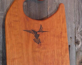 Hummingbird Engraved Cutting Board, Custom Hardwood Cutting Board, add family name, business logo, dates, reclaimed Texas Pecan or Mesquite