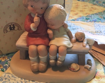 Vintage Enesco Memories of Yesterday Figurine Hush Boy and Girl on a Bench