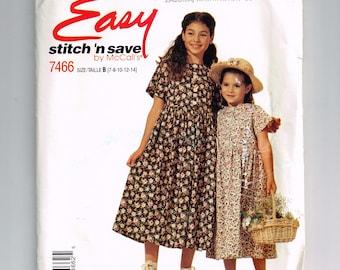 Vintage McCall's 7466 Girls' Dress Pattern, 1995, 90's Ensemble, Size B 7-8-10-12-14 Easy stitch n' save peasant dress