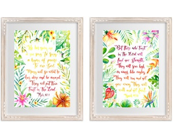 Bible Quote Pair Isaiah 40 & Psalm 40 - Tropical Border Watercolour Print, home decor, Scripture, inspirational, office art, eagles wings