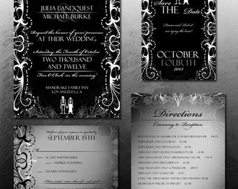 Gothic Wedding Invitation Halloween Wedding Invite Set Skeleton Bride & Groom Offbeat Invitation Digital Printable Wedding Invitation DIY