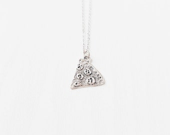 Silver Pizza Slice Necklace | Pepperoni Slice | Best Friends | BFF Necklace | Jewelry | Jewellery | Awesome | Rad | Besties