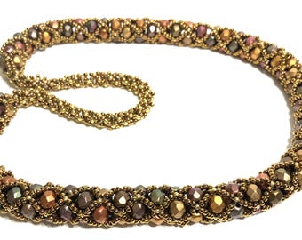 Handcrafted FirePolish Beadwoven Necklace in Earth Tone Beads in Bronze and Gold Seed Bead Netting,OOAK Gift for Her