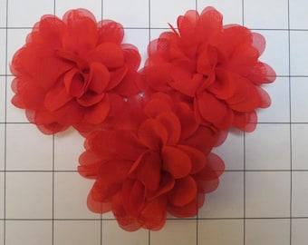 "Set of 3 2.75"" Red Chiffon Flowers Embellishments Dance Costumes!"