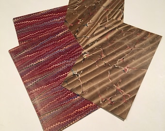 Antique Marbled Paper Pack, Four-Pack of Assorted 19th Century Paper, Brown and Red Crafting Paper