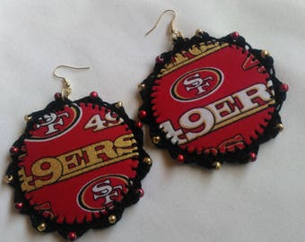 Red, Gold, Black and White Fabric, Beaded, Crochet, 49ers, Team Hip Hop, Hoop Earrings
