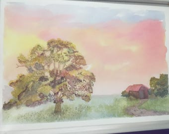 The Old Barn watercolour painting original artwork by artist Big oak tree