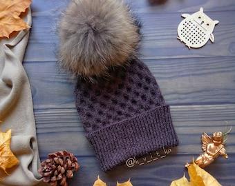 Womens Knit Hat - Hat With Fur Pom Pom - Fluffy Pom Pom Hat-brown Wool Hat READY TO  SHIP