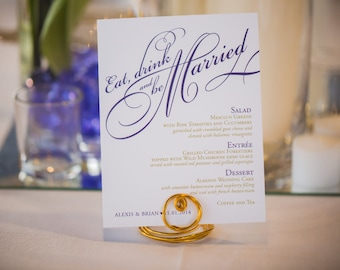 """Wedding Menu """"Eat Drink and Be Married"""" Custom Printable Reception Stationery - Easy Print At Home Engagement Party or Rehearsal Dinner Menu"""