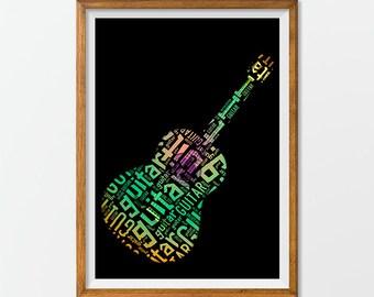 Guitar Art Print Poster Printable, Guitart Artwork Acoustic Guitar Art Typography, Cool Guitar Word Art Print