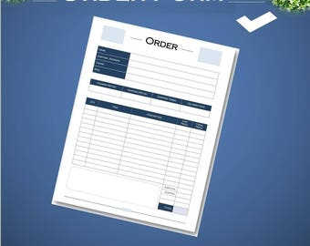 Printable order form for small business, instant download, order form, Letter size and A4 PDF.