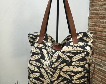 Canvas tote bag/ Messenger cross body bag/ Tote shopping bag /Mothers day gift/ Black and white color