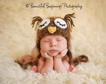 PDF Crochet Pattern - Fuzzy Brown Sleepy Owl Hat - Includes 4 Sizes