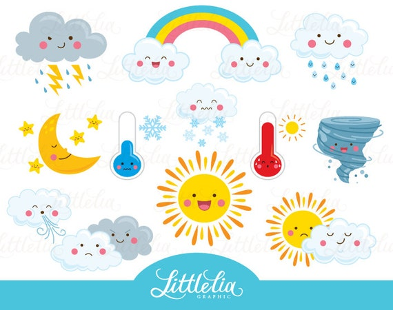 weather kawaii clipart cute weather clipart 16036 rh etsy com weather clipart images weather clip art for preschool