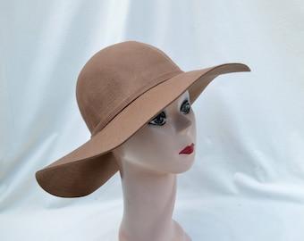 Wide Brim Floppy Tan Wool Felt Large Brim Hat / Womens Wide Brim Winter Hat / Boho Wide Brim Tan Felt Hat