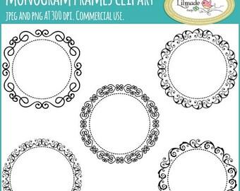 50%OFF Monogram frame clipart, digital frames, lace frames clipart, lace frame digital stamp, embroidery designs, F37