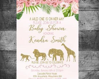Safari Birthday Invitation, Jungle Safari Baby Shower Invitation, Jungle, Monstera Pink and Gold Jungle Safari Invite, Jungle invitation
