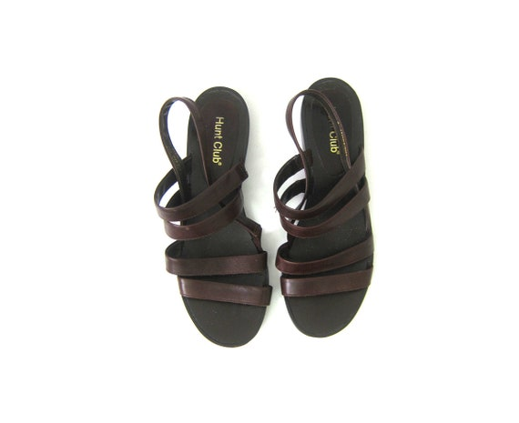 90s Gladiator Sandals Brown Leather Open Toe Womens Shoes Simple Vintage Strappy Sandals Vacation Resort Wear Summer Shoes 8