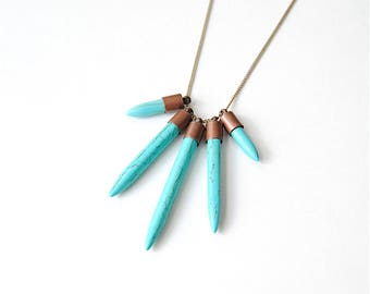 Turquoise Daggers Necklace. Geometric Statement Jewelry. Boho Necklace with Free Shipping. Southwestern Style Pendant for Girlfriend Gift.