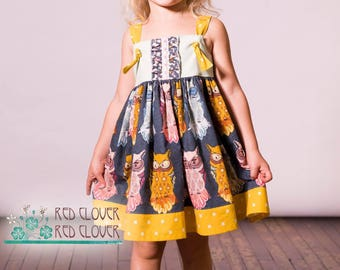 Owl knot dress, size 4T, perfect for fall