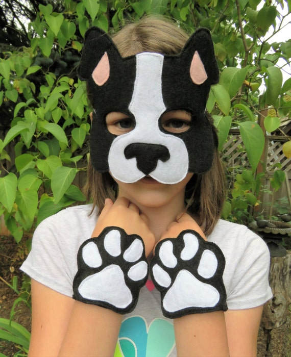 & Dog Costume Set Dog Mask Boston Terrier Costume Dog Paws