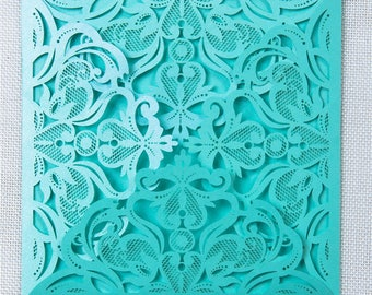 The Love Lace//A 6x6- 4 Panel Laser cut Square Invitation - Teal Metallic