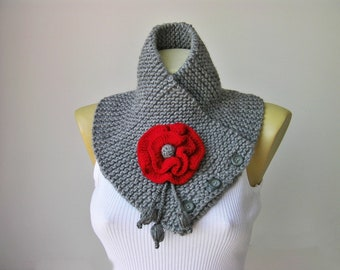 Neckwarmer Crochet scarf   ,scarf, woman scarf gift  crochet scarf  grey ,crochet scarf with removable flower brooch