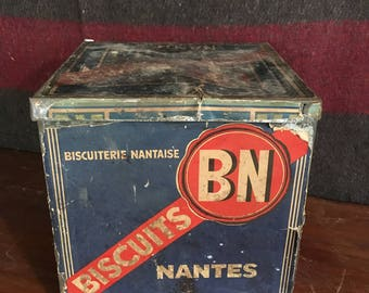 Vintage French Biscuit Tin Vintage Biscuit Box Biscuit Tin French Country Farmhouse Antique French Tin Biscuit Tin Biscuiterie Tin France