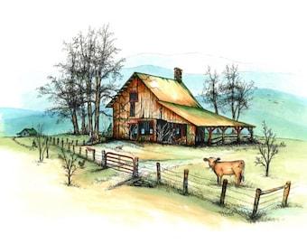 "Blue Ridge mountain farm, barnyard, Pen & Ink, landscape, ""All Things Normal"" (Reproduction)"