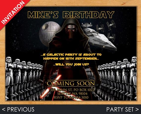 Star Wars Invitation - Kylo Ren Invite - Star Wars Invite - Star Wars - Kylo Ren - Star Wars Party Set - Sith Invitation - Sith Invite