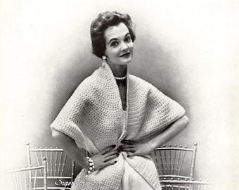 Vintage Cape Stole crochet pattern in PDF instant download version