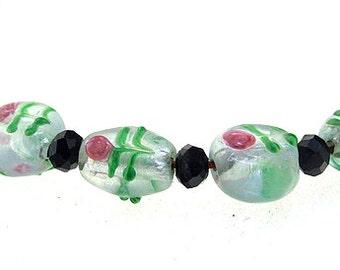 Hole 3mm 5Beads Lampwork beads Flower Lampwork   beads Handmade jewelry designs  European Style