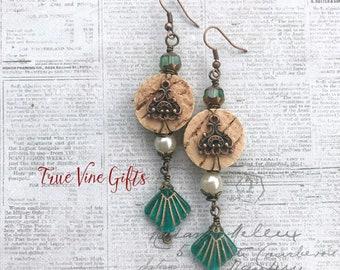 Wine Cork earrings with Green Czech Glass