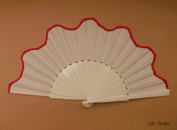 Cream and Red Supersize Hand Fan