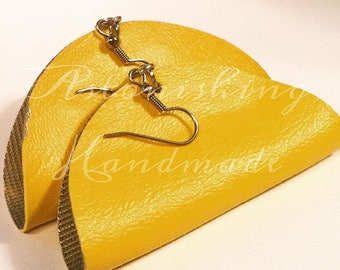 Hand painted Vegan Leather Yellow  Earrings