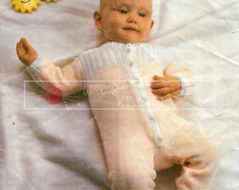 Baby All-In-One Suit 18-20in 4ply Patons 7762 Vintage Knitting Pattern PDF instant download